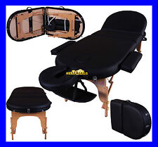 """BLACK MONARCH PORTABLE MASSAGE TABLE COUCH BEAUTY THERAPY PBED REIKI 3"""" SPA"""