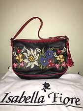 Isabella Fiore Western Style Leather Embroidered Roses Flap Shoulder Bag
