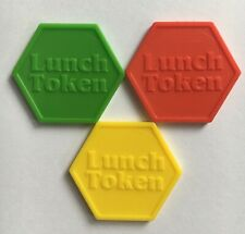 More details for plastic lunch tokens hexagon embossed - 3 colours - bag of 100 - cafe, canteen