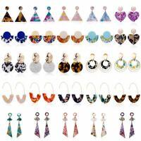 Acrylic Statement Tortoise Shell Earrings Fashion Women Resin Dangle Ear Stud