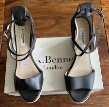 LK Bennett Black Leather Wedge Sandals UK 5.5 38.5