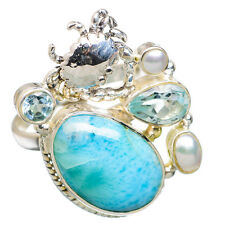 Larimar Crab, Blue Topaz, Pearl Sterling Silver Ring Size 7.5 Jewelry R844191F