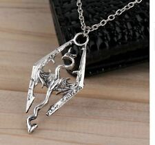 The Elder Scrolls Logo Fashion Cool Skyrim Dragon Pendant Charm Necklace Chain