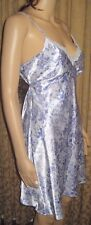 Adonna Size Small Silky Blue Floral Nightgown with TIes