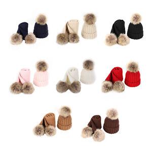 Children's Hat Scarf 2-piece Set Autumn Winter Fur Balls Thickened for Boy Girls