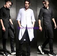 Mens Loose Shirt Long Linen Tops Cotton Hairstylist Half Sleeve Korea T Shirts @