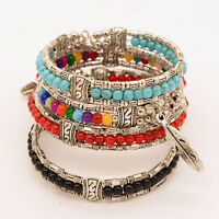 New Fashion Women Lady Jewelry Charm Turquoise Bead Feather Cuff Bangle Bracelet