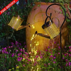Solar Powered LED String Light Watering Can Outdoor Garden Art Lamp Hollow Decor