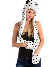 Dalmatian 3N1 Full Hoodie Scarf Mittens Faux Fur Unisex Black white Hat. 3N1