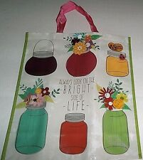 "Reusable Tote Bag  19"" x 17"" x 7"" ALWAYS LOOK ON THE BRIGHT SIDE OF LIFE"