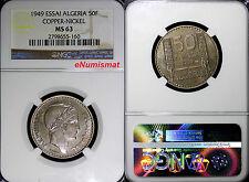 ALGERIA French Colonial Essai 1949 50 Francs NGC MS63 Paris Mint TOP GRADE KM-E2