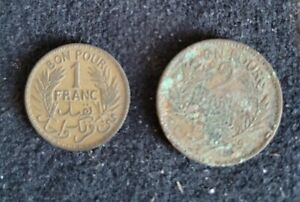 TUNISIA • 2 Coins • 1 & 2 Franc • 1945 • Littleton Stamp & Coin Company