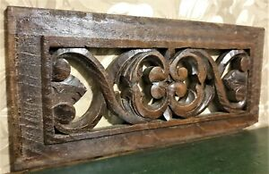 Decorative scroll pierced carving pediment Antique french architectural salvage