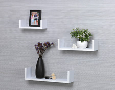 Contemporary Set of 3 U Shape Floating Wall Shelves Storage Display Shelf - Oak