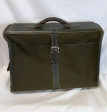 Mid-Century Green Canvas Luggage Travel Bag Case Hard Garment