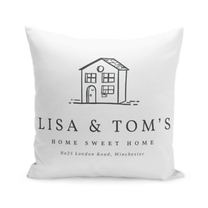 Personalised Home 1 Large Cushion New First Home House Warming Custom Gift