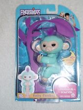 """Fingerlings Baby Monkey AUTHENTIC """"ZOE """"- New by WowWee BLUE WITH PURPLE HAIR"""