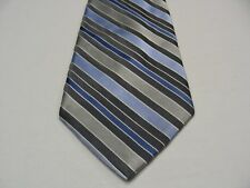 "JONES NEW YORK - GRAY & BLUE STRIPED - WIDE 4"" - 100% SILK NECK TIE"