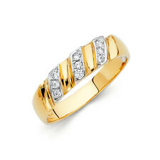 Men 14k 2 Tone Gold Solitaire Round Cz Anniversary Wedding Engagement Ring Band