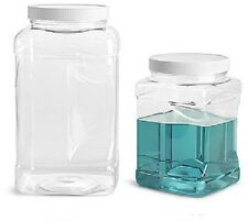 2- 1/2 Gallon Plastic Clear PET Square Wide Mouth Jars w/ White PE Lined Caps