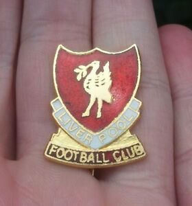 LIVERPOOL FOOTBALL CLUB RED WHITE & GOLD GILT SHIELD PIN BADGE