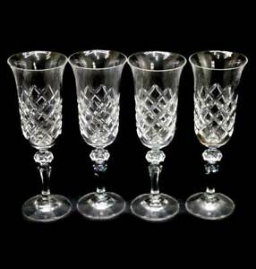 Vintage BOHEMIA crystal set of 4 tall sparkly champagne flutes