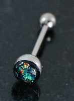 "1 Pc 14g 5/8"" Dark Green Opal Glitter 316L Surgical Steel Tongue Ring Barbeell"