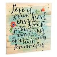 Love is Patient Love is Kind Love Never Fails 12 x 12 inch Wood Wall Sign Plaque