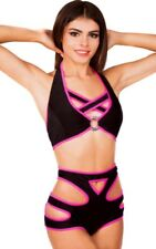 TOP/ HIGH-WAISTED SHORTS POLE DANCING SHOW GIRLS EXOTIC STRIPERS FESTIVE OUTFIT