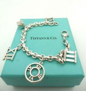 Rare Tiffany & Co 925 S.silver Roman Numerals Charm Donuts Link Chain Bracelet.