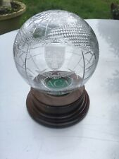 Lead Crystal Globe on wooden Plinth from Monarch Airlines 1 of a kind collectabl