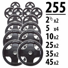 255 lbs of Rubber Grip Olympic Weight Plates - Body-Solid ORST255  sc 1 st  eBay : rubber weight plates set - Pezcame.Com