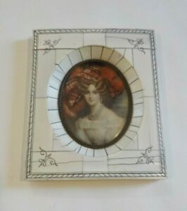 19th C. Miniature Watercolor Portrait Painting, Young Woman, Red Hat (#6)