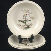 "Set of 3 VTG Soup Bowls 8 1/4"" by Salem China Cherry Blossom Free Form USA"