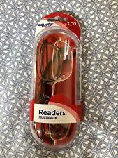 Equate 3 Pack Reading Glasses Unisex Metal Elongated Readers +3.00   S10