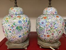 Pair Antique Chinese Famille Rose Hundreds Flowers Porcelain Jar