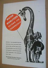 Wurlitzer phonograph 1945 Ad- watch Wurlitzer extend its leadership/giraffe