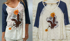 We the Free People Embroidered Eagle 3/4 Raglan Lace Baseball Top Ivory Blue XS
