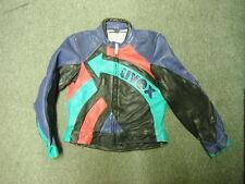 UVEX Size 52 Mens Blue Red Aqua Green & Black Leather Motorbike Jacket