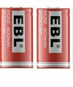 2-Pack / EBL Brand Rechargeable Photo Lithium 3.7v CR2 400mAh Batteries - Re-Use