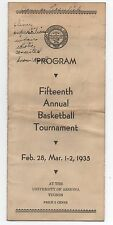 1935 Program from the 15th Annual University of Arizona Basketball Tournament