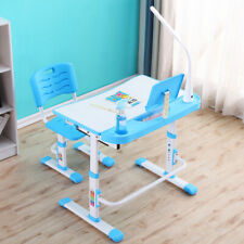 Adjustable Height Children Kids Study Table Chair Set LED Lamp Ergonomic  Desk