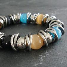 Bracciale in acciaio inox & vetro beads Beadarmband moderno