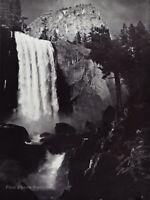 1950s Vintage ANSEL ADAMS Vernal Fall Yosemite Valley Landscape Photo Art 12X16