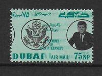 UAE | Dubai 1964 Kennedy 75np Scott #25 SG #47 SHIFTED PRINT Variety ERROR VF-NH