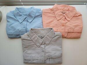 Lot Of 3 LL Bean Womens Tropicwear Long Sleeve Shirts Petite Medium
