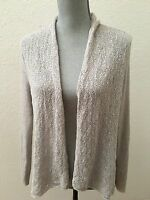 Eileen Fisher Open Cardigan Sweater Medium M 100% Wool Gray Grey As Is Sm Hole