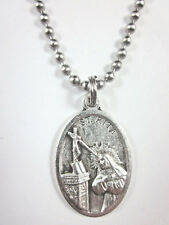 "St Rita of Cascia Medal Pendant Necklace 24"" Ball Chain Gift Box & Prayer Card"