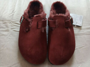 BIRKENSTOCK Women Boston Shearling Fur US Size 9 EUR 40 Red (Port) Leather New