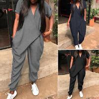 ZANZEA Femme Combinaison Loisir Manche Courte Col V Asymétrique Pantalon Longue
